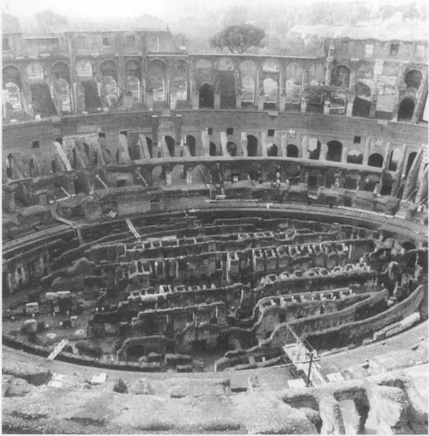 View of the ruins of the Colosseum in Rome.