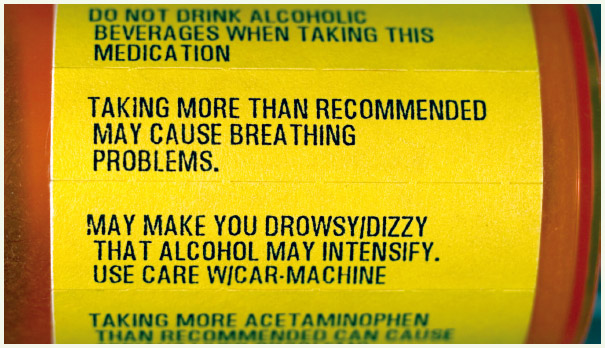 Warning labels on prescription medicine bottles are valuable sources of information about how to take the medication and any side effects it might have.