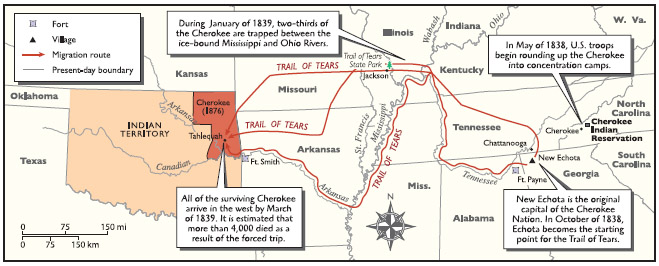 The routes taken by Native Americans on the forced trip to their new home in Oklahoma, now known as the Trail of Tears, 183839.