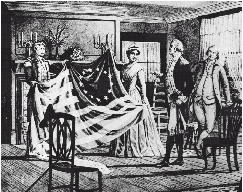 Betsy Ross shows George Washington the first American flag she made in Philadelphia in 1776. A year later, the Continental Congress formally approved the 13-stripe, 13-star flag of red, white, and blue.