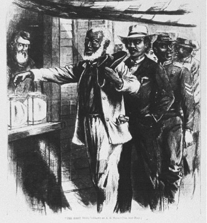 Several black males line up to vote for the first time in an election. The Fourteenth Amendment, while not guaranteeing the right to vote, penalized Southern states if state law denied blacks the right to vote.