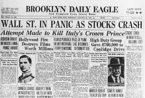 This newspaper headline announces the panic and fear that spread when the stock market collapsed on October 24 and again on October 29, 1929.