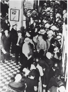 In the wake of the stock market crash, people rushed to withdraw their money from banks, deepening the economic fallout of the Great Depression.
