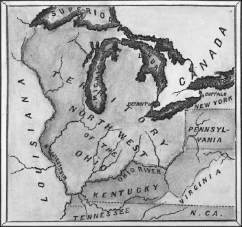 A map of the Northwest Territory, composed of the modern-day states of Michigan, Ohio, Indiana, Illinois, and Wisconsin, produced a large portion of the nations crops.