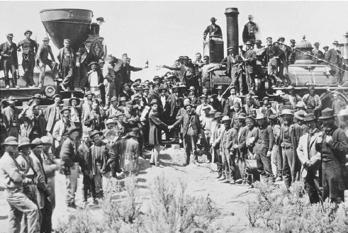 The Golden Spike Ceremony at the completion of the first transcontinental railroad on May 10, 1869. The Central Pacific Company built eastward and the Union Pacific built westward with the two sets of tracks meeting in Utah