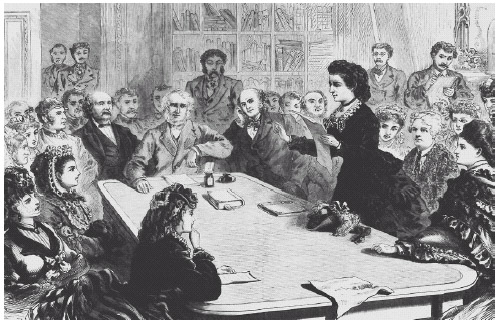 Victoria Woodhull argues in favor of women voting to the Judiciary Committee of the House of Representatives in 1871. College-educated women helped give momentum to the cause.