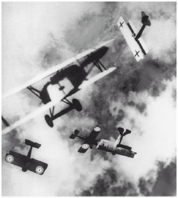 An aerial battle between British fighter planes and German fighters. Aerial assault was an important factor during World War I.