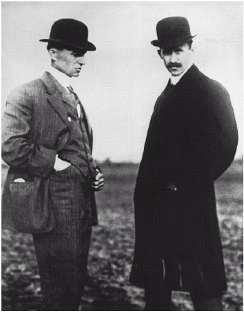 Wilbur, left, and Orville Wright built and flew the first Wright biplane in 1903.
