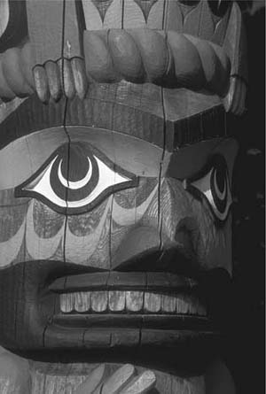 Native American groups of the Northwest Coast of the United States and Canada create carved and painted logs of wood called totem poles. The animals and spirits on these poles often come fom Native American myths and folktales.