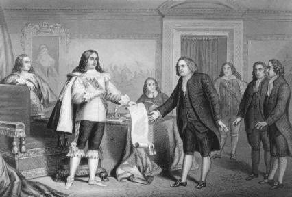 William Penn receiving the charter of Pennsylvania from Charles II. Reproduced by permission of Mary Evans Picture Library.