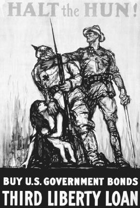 """During World War I, anti-German hysteria was directed at German Americans at home. This propaganda poster issued by the U.S. government depicts the wartime view of evil Germans (called """"Huns,"""" a negative word for German soldiers). Created by Henry Patrick Raleigh. Reproduced by permission of © Corbis."""