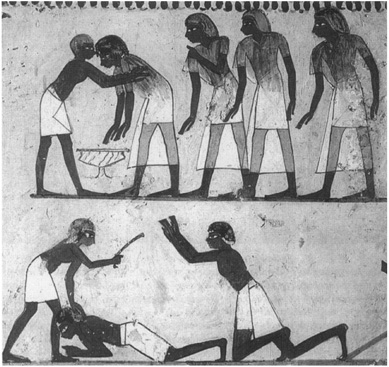 Painting from the Theban tomb of Menna, Sheikh Abd el-Qurna, showing a delinquent farmer being shaken