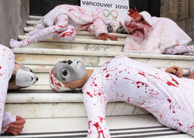 Members of People for the Ethical Treatment of Animals (PETA) protest seal hunting.