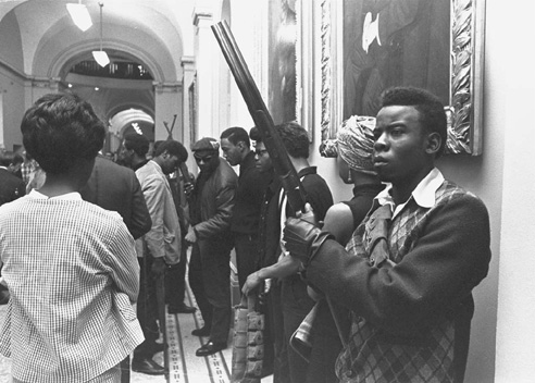 On May 2, 1967, armed members of the Black Panther Party enter the California state capital to protest a bill restricting the carrying of arms in public.