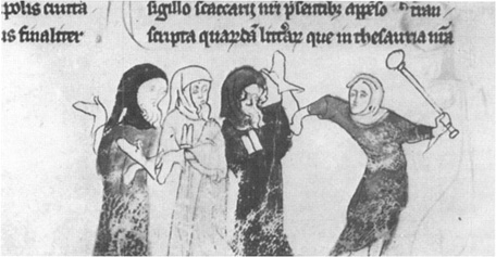 The expulsion of the Jews from England, 1290; illumination from an early-fourteenth-century manuscript for