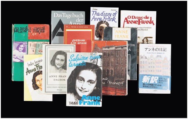 Various copies of Anne Franks Diary of a Young Girl, which has been published in some 60 languages.