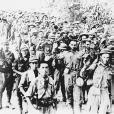 American and Filipino troops surrender at Corregidor. (Reproduced by permission of the Corbis Corporation [Bellevue])