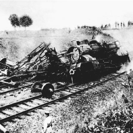 This German gasoline supply train was derailed and burned by explosives placed in the tracks by French resistance firghters. (Reproduced by permission of AP/Wide World Photos)
