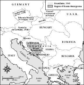 Yugoslavia and neighboring countries, 1941.
