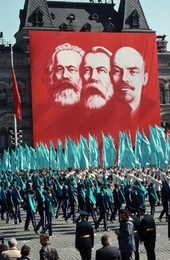 Banner of Marx, Engels, and Lenin.