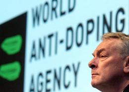 World Anti-Doping Agency Chairman Richard Pound at podium