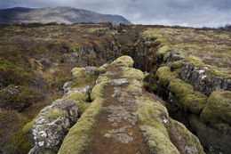 Fault in the landscape caused by continental drift between North American and Eurasian tectonic ...