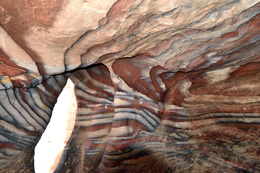 Colored sandstone patterns in a cave