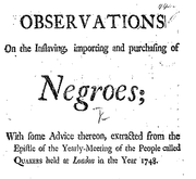 Document Preview Image for Observations on the inslaving, importing and purchasing of Negroes; with some advice thereon, extracted from the epistle of the Yearly-Meeting of the people called Quakers, held at London in the year 1748. [Nine lines of Scripture texts]