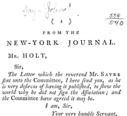 Document Preview Image for From the New-York journal. Mr. Holt, Sir, The letter which the Reverend Mr. Sayre sent unto the Committee, I here send you, as he is very desirous of having it published, to shew the world why he did not sign the Association; and the Committee have agreed it may be. I am, sir, your very humble servant, Thaddeus Burr