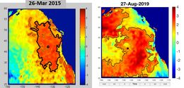 Heat maps show the difference in ocean temperatures