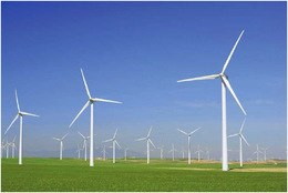 Windmills harness the windfor electric power production in Aragon, Spain.