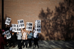 Reenactment of the 1968 Memphis Sanitation Workers' Strike