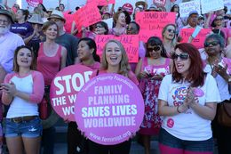 """Planned Parenthood Supporters on """"National Pink Day"""""""