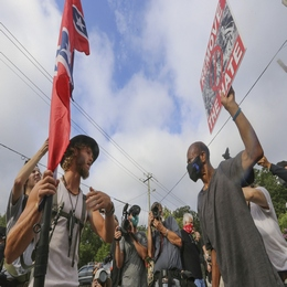 Counterprotesters Face off with Protesters Near the Confederate Monument at Stone Mountain, Georgia