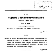 Document Preview Image for Frontiero v. Richardson, 411 U.S. 677 (1973). Appellant's Brief