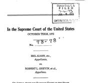 Document Preview Image for Kahn v. Shevin, 416 U.S. 351 (1974). Jurisdictional Statement