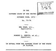 Document Preview Image for Kahn v. Shevin, 416 U.S. 351 (1974). Motion