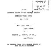 Document Preview Image for Kahn v. Shevin, 416 U.S. 351 (1974). Appellee's Brief