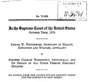 Document Preview Image for Weinberger v. Wiesenfeld, 420 U.S. 636 (1975). Appellant's Brief