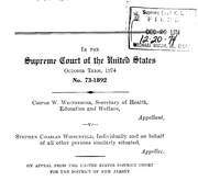 Document Preview Image for Weinberger v. Wiesenfeld, 420 U.S. 636 (1975). Appellee's Brief