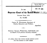 Document Preview Image for Weinberger v. Wiesenfeld, 420 U.S. 636 (1975). Amicus Brief