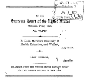 Document Preview Image for Joseph A. Califano, Jr., Secretary of Health, Education, and Welfare, Appellant, v. Leon Goldfarb., 430 U.S. 199 (1977). Appellee's Brief