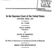Document Preview Image for Billy Duren, Petitioner, v. State of Missouri, 439 U.S. 357 (1979). Respondent's Brief