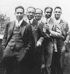 Prominent figures of the Harlem Renaissance, 1924. From left to right: Langston Hughes, Charles S....