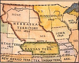 This 1854 map shows the division of the Kansas and Nebraska Territories from the controversial...