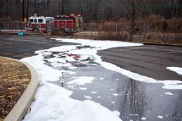 Firefighting foam on ground