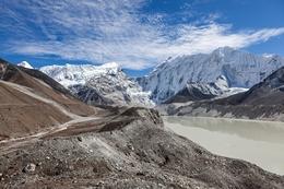 A Moraine Lake at the Foot of the Imja Glacier and Amphu Lapcha Pass